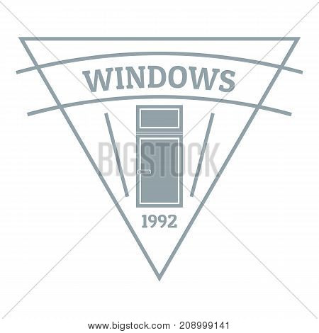 Square window logo. Gray monochrome illustration of square window vector logo for web