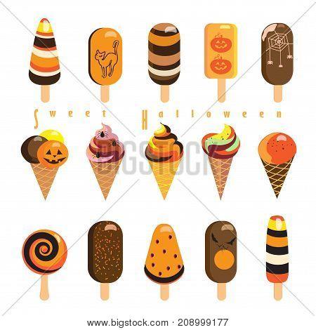 Halloween Holiday ice cream icons, symbols set. Vector illustration