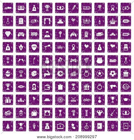 100 premium icons set in grunge style purple color isolated on white background vector illustration