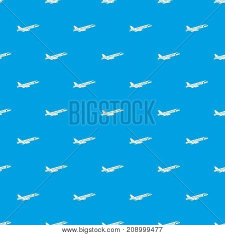 Airplane taking off pattern repeat seamless in blue color for any design. Vector geometric illustration