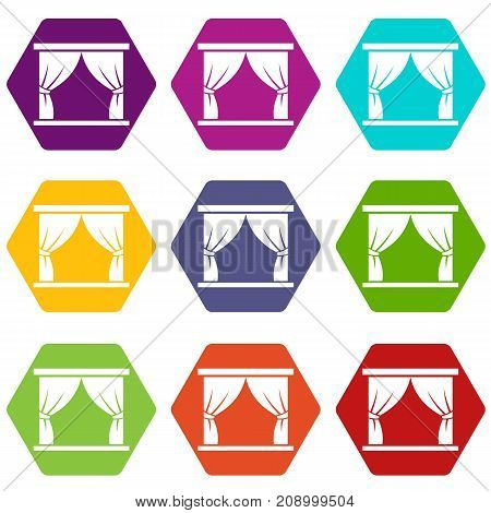 Curtain on stage icon set many color hexahedron isolated on white vector illustration