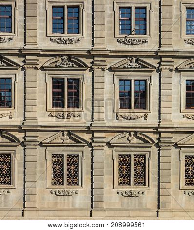 Zurich, Switzerland - 15 October, 2015: windows of the Zurich Rathaus building. Rathaus is Zurich's Town Hall, it houses the cantonal parliament (German: Kantonsrat) and the city parliament (German: Gemeinderat). The building was built from 1694-1698