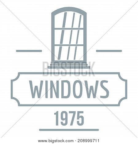 Inside window logo. Gray monochrome illustration of inside window vector logo for web