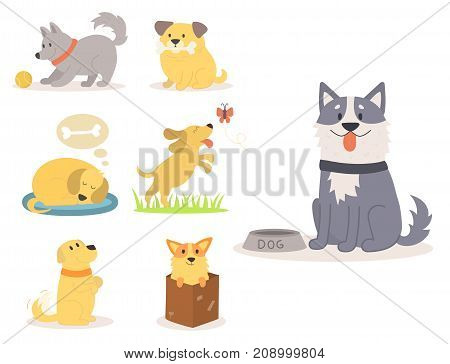 Vector illustration cute dogs characters. Set of funny purebred puppy comic smile happy mammal breed drawing icon. Pedigree terrier canine adorable animal.