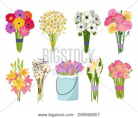Flowers brunch bouquet set collection flat floral vector garden vector illustration. Botanical natural peonies illustration on white. Summer floral greeting card botany colorful rose decoration.