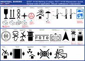 Vector set of cargo package marking symbols. Package cargo labeling rules in English and Russian GOST 14192, Iso 7000 Set of package icons package symbols. Vector cargo marking labeling standard rules poster
