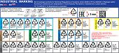Vector set of package marking recycling symbols and materials codes of Technical Regulations TR CU 005/2011. Package icons marks. Package marking labeling rules in English and Russian. TR TS 005/2011 poster