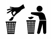 Throwing garbage icons. Tidy man or do not litter symbols, keep clean and dispose of carefully and thoughtfully vector signs poster