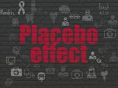 Medicine concept: Painted red text Placebo Effect on Black Brick wall background with Scheme Of Hand Drawn Medicine Icons poster