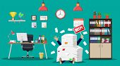 Stressed businessman under pile of office papers and documents. Office building interior. Office documents heap. Routine, bureaucracy, big data, paperwork, office. Vector illustration in flat style poster