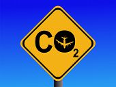 Warning CO2 emissions from air travel sign poster