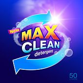 Max clean laundry detergent Design Template for packaging..Used as a detergent illustration. For washing machine..Showcasing modern clean energy for the future...Vector illustration Realistic. poster