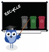 Owl teacher with recycling message on blackboard poster