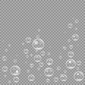 Underwater fizzing air bubbles isolated on transparent background. Air water clear bubble in water, sea, aquarium, ocean. vector illustration EPS 10 poster