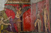 Ancient Roman fresco in Pompeii showing a detail of the mystery cult of Dionysus. Pompeii was destroyed, during a catastrophic eruption of the volcano Vesuvius spanning in AD 79. poster