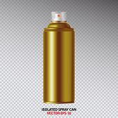Golden Paint Aerosol Spray Metal 3D Bottle Can, Graffiti, Deodorant, Household Chemicals, Poison. Front View. Illustration Isolated On White Background. Mock Up Template For Your Design. Vector EPS10 poster