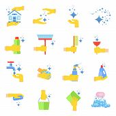 Clean flat vector icons set. Collection of cleaning tools in hand. Housework supplies packaging, colorful domestic clean hygiene kitchenware concept illustration. Objects isolated on white background. poster