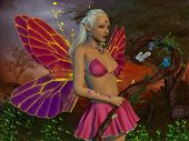 Fairy Raina 3d illustration - A fairy is a creature of myth and legend and has wings and magical powers in the fairytale forest. poster