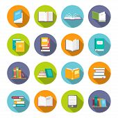 Book icon set. Learning facts, information, descriptions, or skills, study or investigation textbooks. Vector flat style cartoon illustration isolated on white background poster