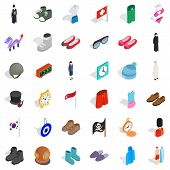 Vogue icons set. Isometric style of 36 vogue vector icons for web isolated on white background poster