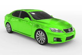 car isolated on white - green paint tinted glass - front-right side view - 3d rendering