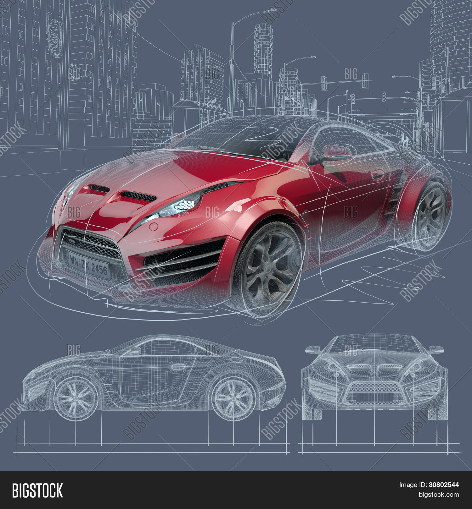 Sports car blueprint image photo free trial bigstock sports car blueprint original car design malvernweather Choice Image