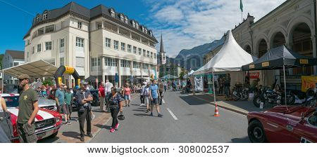 Bad Ragaz, Sg / Switzerland - 23 June, 2019: Racers And Guests Enjoy The Oldtimer Car Exhibition And