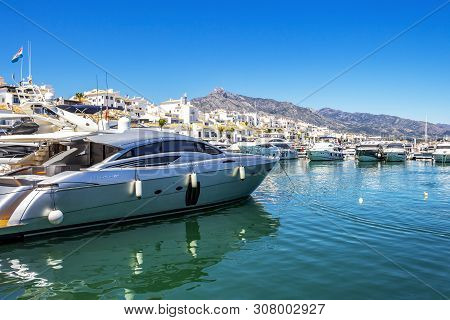 Puerto Banus, Spain - May 26, 2019: Luxury Yacht At Puerto Banus, Nueva Andalucia, Marbella, Provinc