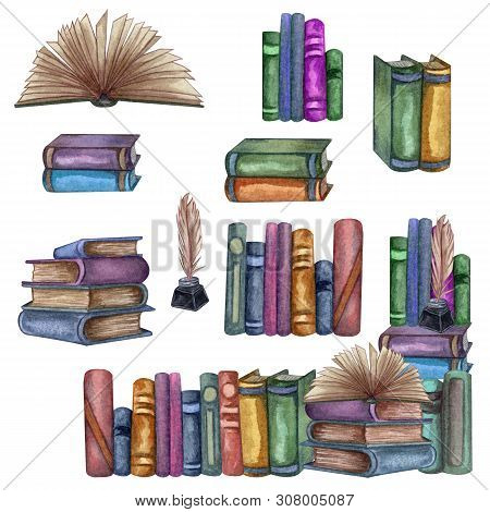 School Books Frame, Set Of Education Art Library, Bookshelves, Open Book, Ink Bottle With Feather, D