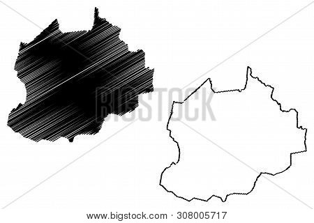 Northwest Region (Regions of Cameroon, Republic of Cameroon) map vector illustration, scribble sketch North-West Region map poster