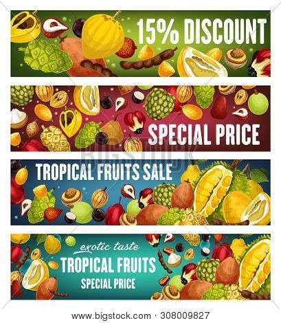 Exotic Fruits And Berries Discount Offer Vector Banners. Tropical Pomelo, Quince And Asian Durian, T