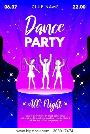 Abstract Dance Party Background For Banner, Flyer, Poster, Invitation. Dancing Young People Silhouet