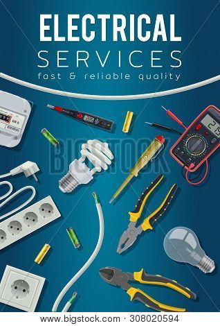 Electrical Service Vector Design With Electrician Tools And Electric Power Equipment Poster. Cable,