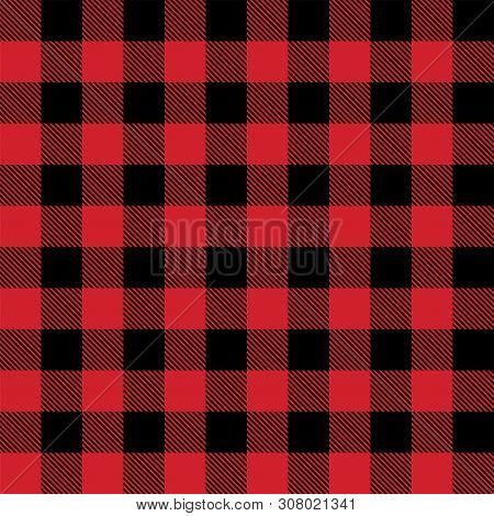 Red And Black Lumberjack Buffalo Plaid Seamless Vector Pattern