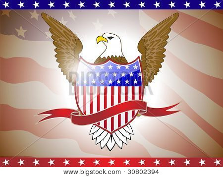 Vector illustration of golden eagle and shield on American flag for American Independence Day and other events. poster