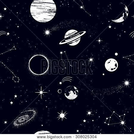 Space Seamless Pattern, Beautiful Galaxy, Stars, Planets, Constellations In Outer Space. Texture For