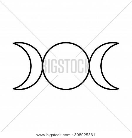 Triple Goddess Symbol, Moon Phases, Maiden, Mother And Crone. Mythology, Wicca, Witchcraft. Vector I