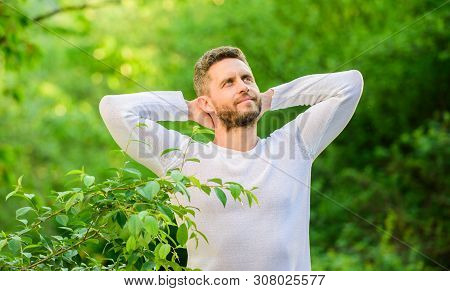 Enjoying Green Life. Man In Forest. Time To Think. Ecological Life For Man. Man In Green Forest. Mor