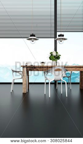 Modern dining suite with modular metal chairs and wooden table in front of high plate glass windows with blinds and hanging ceiling lamps, low angle on a black floor with view to mountains. 3d renderi