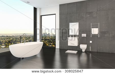 Modern stylish minimalist monochromatic bathroom interior in black, white and grey with wall mounted vanity and toilet and free standing tub with view window and glass door to patio. 3d rendering