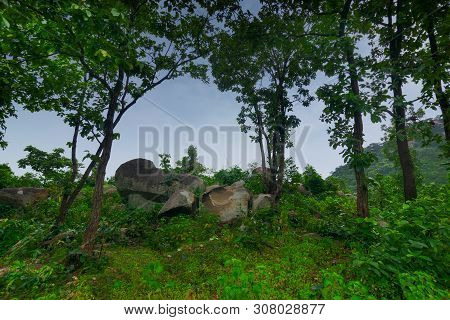 Mayur Paharh Is A Small Hill Of Purulia., West Bengal, India. The Beautiful Rocks Are Rain Soaked ,