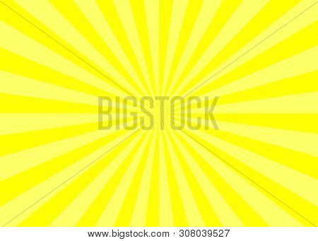 Abstract Yellow Starburst Showing Yellow Light Spreading From Center, Yellow Stripe Background, Burs