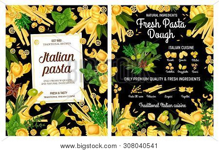 Italian Pasta Made From Fresh Macaroni Dough With Spices And Herbs. Vector Spaghetti, Fettuccine And