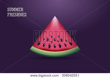 A Juicy Slice Of Watermelon On The Background Gradient. Summer Banner Design Template