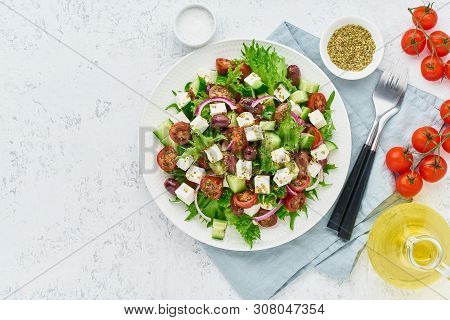 Greek Salad With Feta Cheese, Olives, Cherry Tomato, Cucumber, Lettuce And Onion, Vegeterian Mediter