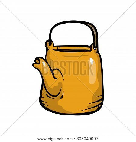 Yellow Color Steel Metal Kettle With Black Handle