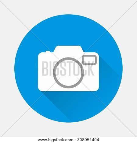 Vector Icon Retro Camera On Blue Background. Flat Image Camera With Long Shadow. Layers Grouped For
