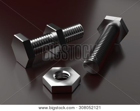 Bolt With Nut. 3d Rendering. Products Bolts. Thread On The Bolt. Fastening Elements. Greasy Details.