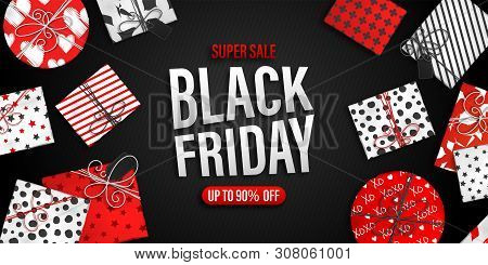 Black Friday Sale Banner. Cool Seasonal Discount Poster With Red And White Gift Boxes On Black Backg