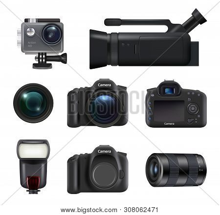 Video And Photo Cameras. Professional Dslr Technic For Movie And Photo Production Lens Flashes Vecto